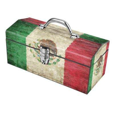 16 in. Mexico Flag Art Tool Box