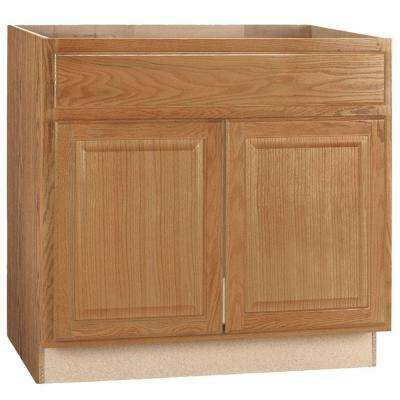 Hampton Bay Hampton Assembled 36x34.5x24 inch Sink Base Kitchen Cabinet in Medium Oak