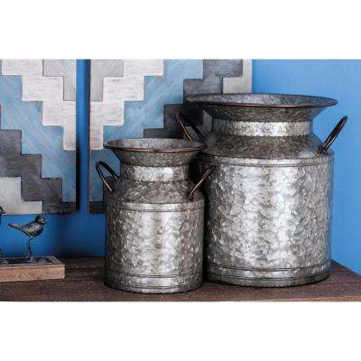 Large: 15 in; Small: 12 in. Farmhouse Metallic-Finished Iron Planters (2-Pack)