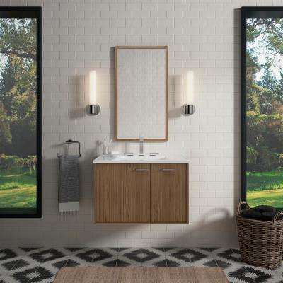 Jute 30 in. W Wall-Hung Vanity Cabinet in Walnut Flax with Vitreous China Vanity Top in White Impressions with Basin