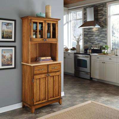 2-Drawer 31.25 in. W Cottage Oak Buffet with Wood Top and Hutch