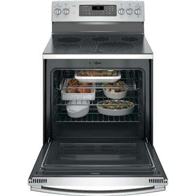 Profile 30 in. 5.3 cu. ft. Smart Electric Range with Self-Cleaning Convection Oven and Wi-Fi in Stainless Steel