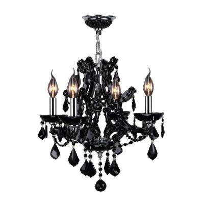 Lyre Collection 4-Light Chrome with Black Crystal Chandelier