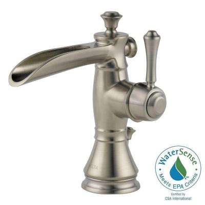 Cassidy Single Hole Single-Handle Open Channel Spout Bathroom Faucet in Stainless with Metal Pop-Up