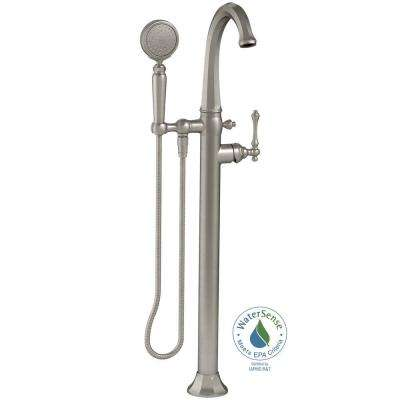 Kelston 1-Handle Floor Mount Bath Filler with Hand Shower in Vibrant Brushed Nickel