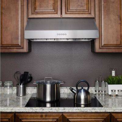 30 in. Kitchen Under Cabinet Range Hood in Stainless Steel with LED Lights and Touch Panel Control
