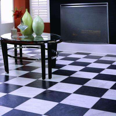 Black and White Chess Slate 8 mm Thick x 11-3/5 in. Wide x 46-1/4 in. Click Lock Laminate Flooring (18.56 sq. ft./case)