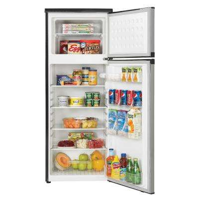 7.3 cu. ft. Apartment Size Top Freezer Refrigerator in Black and Stainless Steel