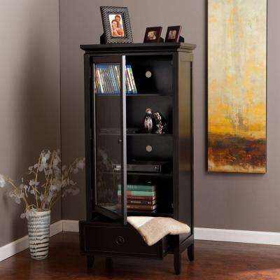 Hudson Glass Door Storage and Display Cabinet in Black