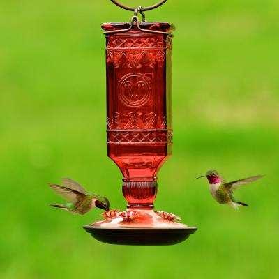 Red Antique Square Decorative Glass Hummingbird Feeder - 24 oz. Capacity