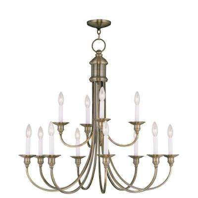 Providence 12-Light Antique Brass Incandescent Ceiling Chandelier