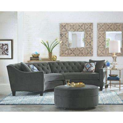 Riemann Polyester 2-Piece Sectional in Microsuede Smoke