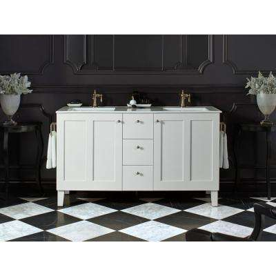 Poplin 60 in. Bath Vanity Cabinet Only in Linen White