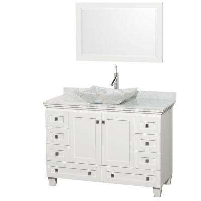 Acclaim 48 in. W Vanity in White with Marble Vanity Top in Carrara White and White Carrara Marble Sink