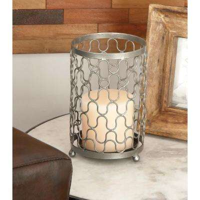 (Set of 2) Silver Iron Mesh Candle Holders