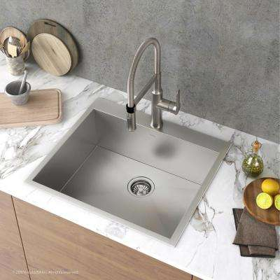Pax Series Drop-in Stainless Steel 25 in. 1-Hole Single Bowl Kitchen Sink