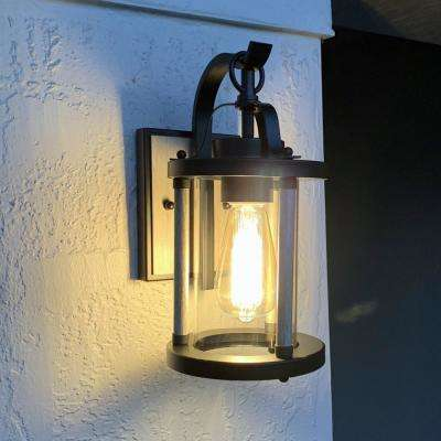 1-Light Black Iron and Wood Outdoor Wall Mount Sconce with Clear Glass Shade