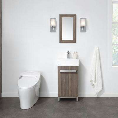 Maelynn 18 in. W x 12 in. D Vanity in Ash with Ceramic Vanity Top in White with White Sink and Mirror