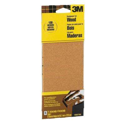 3-2/3 in. x 9 in. 100-Grit Medium Garnet Sand Paper (6 Sheets-Pack)