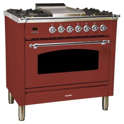 36 in. 3.55 cu. ft. Single Oven Italian Gas Range with True Convection, 5 Burners, Griddle, Chrome Trim in Burgundy