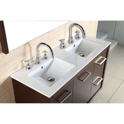 Cupertino 48 in. W x 18 in. D x 33.5 in. H Double Vanity in Wenge with Ceramic Vanity Top in White with White Basins