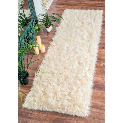 Genuine Greek Flokati Natural 3 ft. x 8 ft. Runner Rug