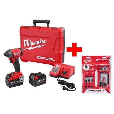 M18 FUEL 18-Volt Cordless Lithium-Ion Brushless 1/4 in. Hex Impact Driver Kit with Shockwave Bit Set (18-Piece)