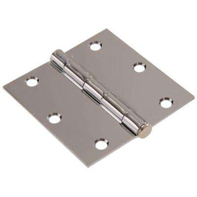 3-1/2 in. Chrome Residential Door Hinge with Square Corner Removable Pin Full Mortise (9-Pack)