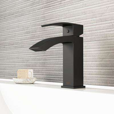 Satro Single Hole 1-Handle Bathroom Faucet in Matte Black