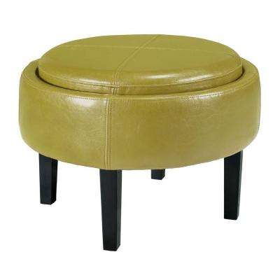 Cooper Green Bonded Leather Storage Ottoman