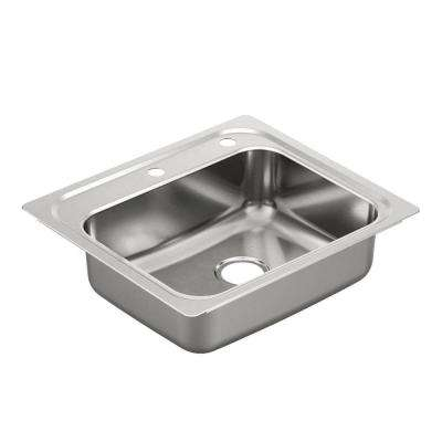 2000 Series Drop-In Stainless Steel 25 in. 2-Hole Single Bowl Kitchen Sink