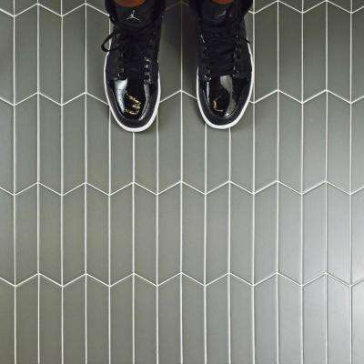 Metro Soho Chevron Matte Light Grey 1-3/4 in. x 7 in. Porcelain Floor and Wall Tile (1 sq. ft. / pack)