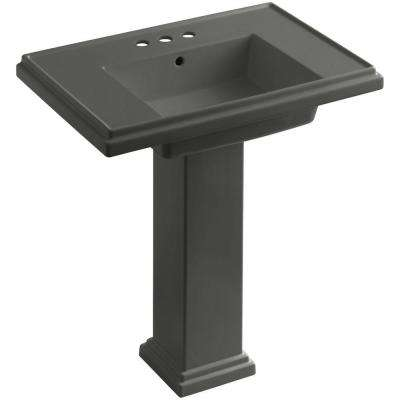 Tresham Ceramic Pedestal Combo Bathroom Sink with 4 in. Centers in Thunder Grey with Overflow Drain