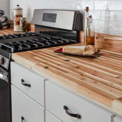 8 ft. 2 in. L x 2 ft. 1 in. D x 1.5 in. T Butcher Block Countertop in Unfinished Acacia Wood