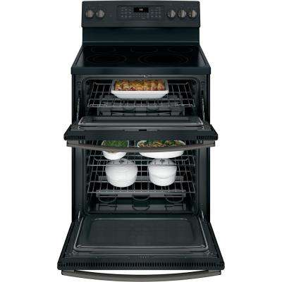 6.6 cu. ft. Double Oven Electric Range with Self-Cleaning and Convection Lower Oven in Black Slate