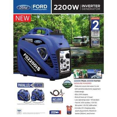 2,200/2,000-Watt Gasoline Powered Recoil Start Portable Inverter Generator with 80 cc Ducar Engine