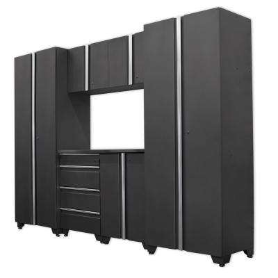 Classic 75 in. H x 108 in. W x 18 in. D Steel Cabinet Set in Coal (7-Piece)