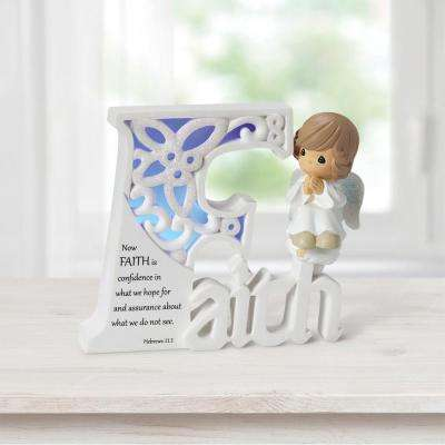 Precious Moments Tabletop Angel Resin LED Light-Up Faith Collectible Figurine