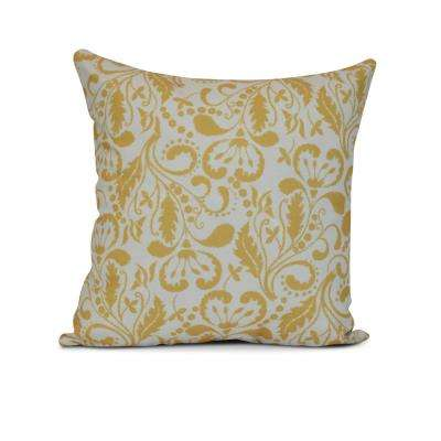 16 in. Aurora Floral Print Pillow in Gold