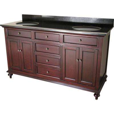 Preston 60 in. Vanity in Dark Cherry with Granite Vanity Top in Black with Two White Undermount Sinks
