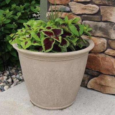 24 in. Beige Anjelica Poly Single Flower Pot Planter