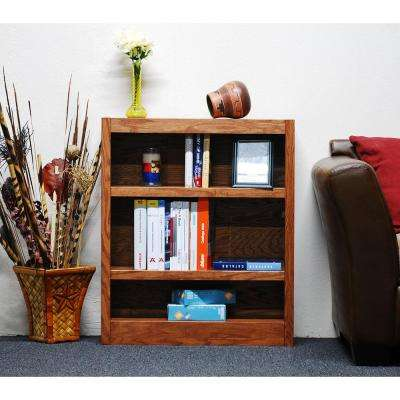 Midas Single Wide 3-Shelf Bookcase in Dry Oak