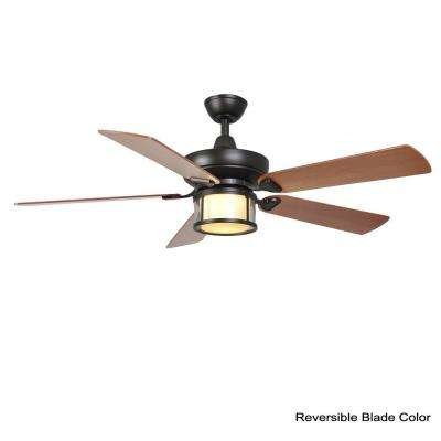Tipton II 52 in. Indoor Oil-Rubbed Bronze Ceiling Fan with Light Kit and Remote Control
