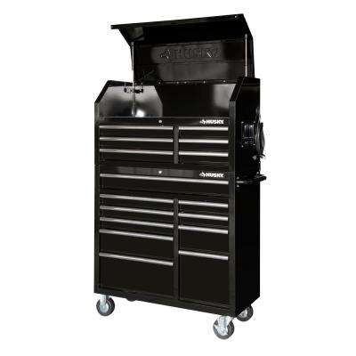 41 in. 16-Drawer Tool Chest and Cabinet Combo in Gloss Black