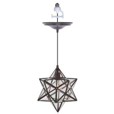 Moravian 1-Light Large Bronze Pendant Conversion Kit with Clear Glass Shade