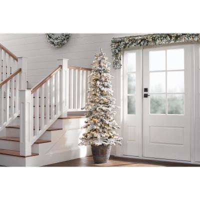 6.5 ft. Risch White Pine Potted Heavy Flocked LED Pre-Lit Artificial Christmas Tree with 400 Warm White Lights