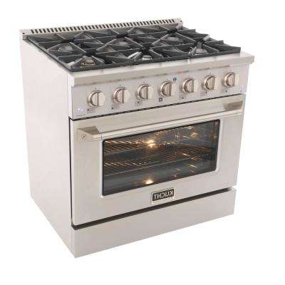 Pro-Style 36 in. 5.2 cu. ft. Propane Gas Range with Convection Oven in Stainless Steel and Silver Oven Door