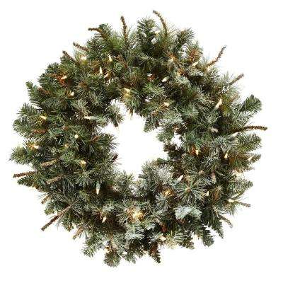 30 in. Lighted Frosted Pine Artificial Wreath