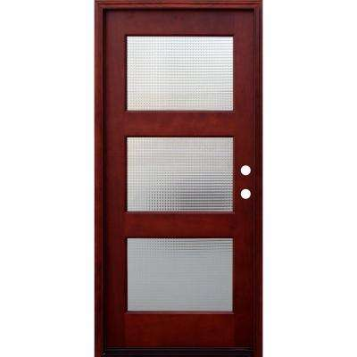Contemporary 3 Lite Cross Reed Stained Mahogany Wood Prehung Front Door