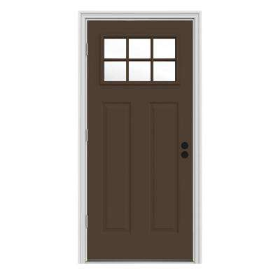 31.438 in. x 81.75 in. 6 Dark Craftsman Chocolate Lite Painted Steel Prehung Right-Hand Outswing Front Door w/Brickmould